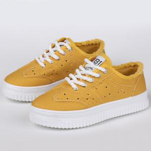 Lace Up Hollow Out Canvas Shoes - YELLOW 39