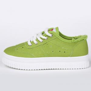 Lace Up Hollow Out Canvas Shoes - GREEN 39