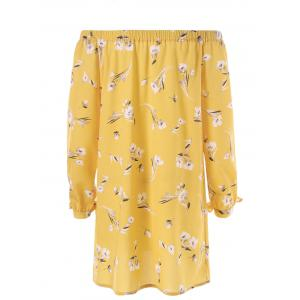 Floral Tie Sleeve Off The Shoulder Dress - YELLOW M