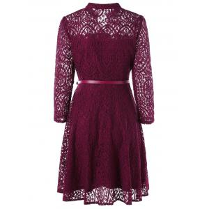 Button Embellished Long Sleeve Flare Dress - WINE RED 2XL