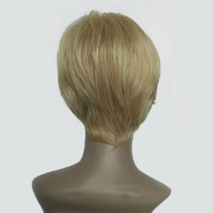 Oblique Bang Short Straight Human Hair Wig - COLORMIX