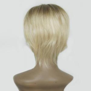 Short Side Bang Straight Colormix Human Hair Wig - COLORMIX