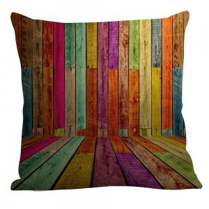 Colorful Wood Pattern Square Pillow Case - COLORFUL W18 INCH * L18 INCH