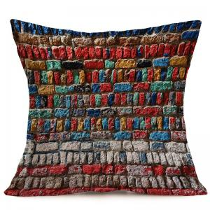 Colorful Brick Wall Pattern Pillow Case - COLORFUL W18 INCH * L18 INCH