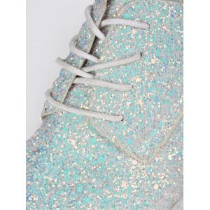 Tie Up Low Top Glitter Flat Shoes - Blanc 37
