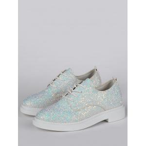Tie Up Low Top Glitter Flat Shoes - Blanc 38