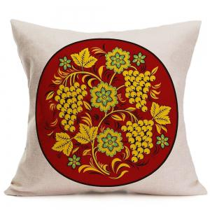 Grapes Flowers Printed Linen Pillow Case - BROWN W18 INCH * L18 INCH