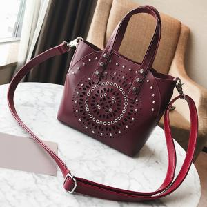 Stud Hollow Out 2 Pieces Handbag Set - WINE RED