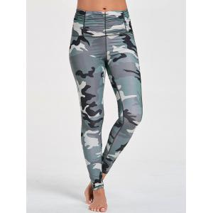 Ruched Waist Camouflage Printed Sports Leggings - CAMOUFLAGE S