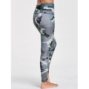 Ruched Waist Camouflage Printed Sports Leggings -
