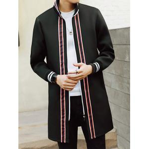 Stripe Braid Embellished Zip Up Longline Coat - BLACK L