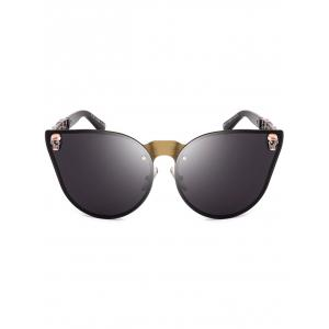 Skull Embellished Butterfly Mirror Sunglasses - BLACK GOLD