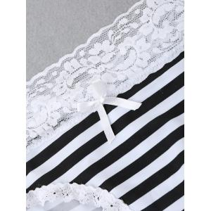 Lace Trim Striped Panties -