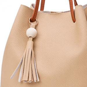 Tassel 4 pièces Faux Leather Shoulder Bag Set - Kaki