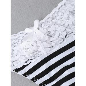 Lace Insert Striped Thong - WHITE AND BLACK M