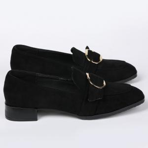 Square Toe Grommet Slip On Flat Shoes - Noir 37