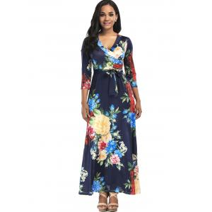 Floral Print Surplice Belted Maxi Dress - PURPLISH BLUE 2XL