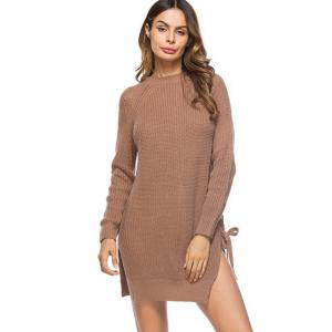 Light Brown One Size Lace Up Cable Knit Sweater Dress | RoseGal.com
