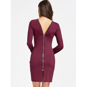 Full Zip Long Sleeve Pencil Dress - WINE RED S