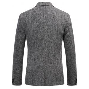 Lapel Collar One Button Space Dyed Blazer - GRAY L