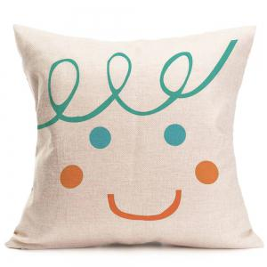 Smile Face Patterned Throw Pillow Case -