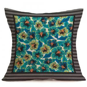 Linen Home Decor Tiny Flowers Pattern Pillow Case - BLUE W18 INCH * L18 INCH