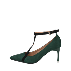 Mini Heel Pointed Toe Ankle Strap Pumps - GREEN 37