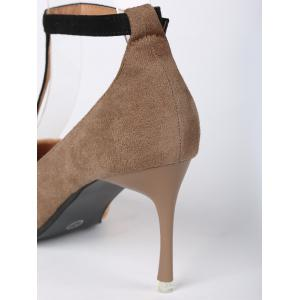 Mini Heel Pointed Toe Ankle Strap Pumps - BROWN 39