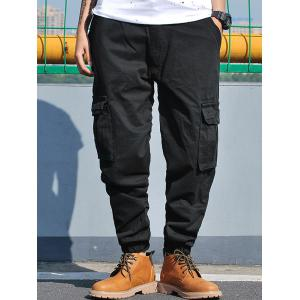Pockets Zip Fly Beam Feet Cargo Pants - BLACK 32