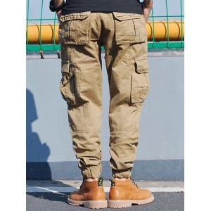 Pockets Zip Fly Beam Feet Cargo Pants - KHAKI 38