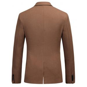 Lapel Flap Pocket Double Breasted Blazer - BROWN L