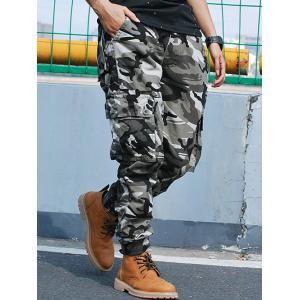 Beam Feet Flap Pockets Camo Cargo Pants - GRAY 38