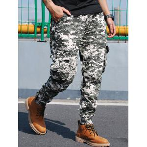 Beam Feet Flap Pockets Camouflage Cargo Pants - GREEN 38