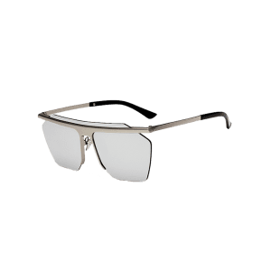 Semi Rimless Metallic Pilot Mirror Sunglasses -