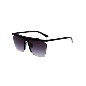 Semi Rimless Metallic Pilot Mirror Sunglasses - BLACK