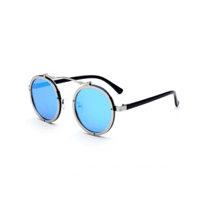 Metallic Double Rims Rounded Mirror Sunglasses - ICE BLUE