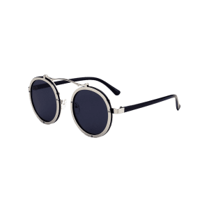 Metallic Double Rims Rounded Mirror Sunglasses - SILVER FRAME + BLACK LENS