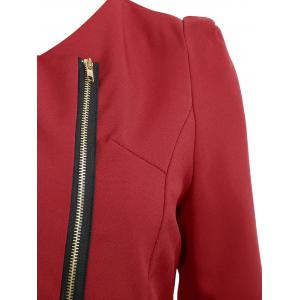 Zipper Ruched Tunic Blazer - Rouge vineux  S
