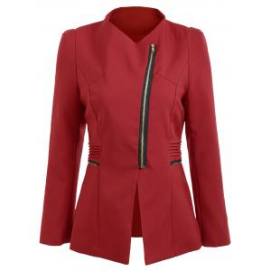 Zipper Ruched Tunic Blazer - Rouge vineux  XL