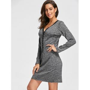 Plunge Mini Bodycon Dress - DEEP GRAY S
