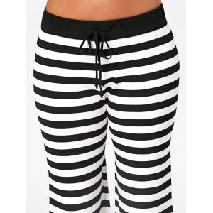 Knit Striped Wide Leg Lounge Pants - WHITE AND BLACK ONE SIZE