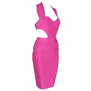 Cut Out Sweetheart Neck Bandage Dress -