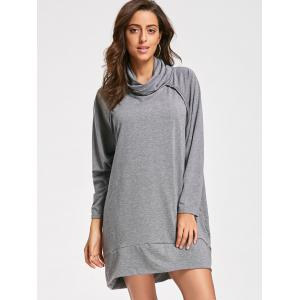 Casual Mock Neck Robe manches longues - Gris S