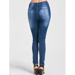 Embroidered Ripped High Waisted Jeans - BLUE XL