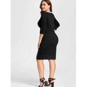 Black/grey 3xl Color Block Plus Size Bodycon Dress | RoseGal.com