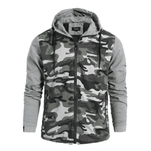 Mens Camo Hooded Jacket -