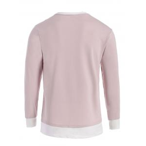 Contrast Trim Front Pocket Long Sleeve T-shirt - SHALLOW PINK XL