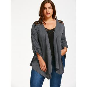 Lace Insert Plus Size Long Sleeve Cardigan - GRAY XL