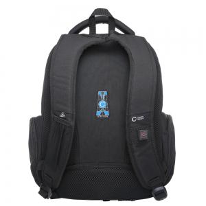 Multi Zippers Top Handle Laptop Backpack - BLACK VERTICAL