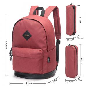 Pencil Bags and Padded Strap Backpack - RED VERTICAL